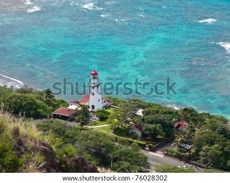 Diamond Head lighthouse, Honolulu, Hawaii - stock photo
