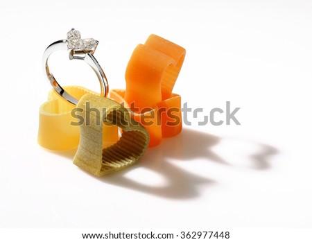 Diamond heart shaped ring, valentine days concept on white. - stock photo