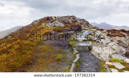 Diamond Hill summit in Connemara - stock photo