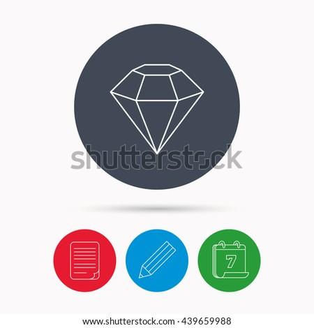 Diamond icon. Brilliant gemstone sign. Calendar, pencil or edit and document file signs.  - stock photo