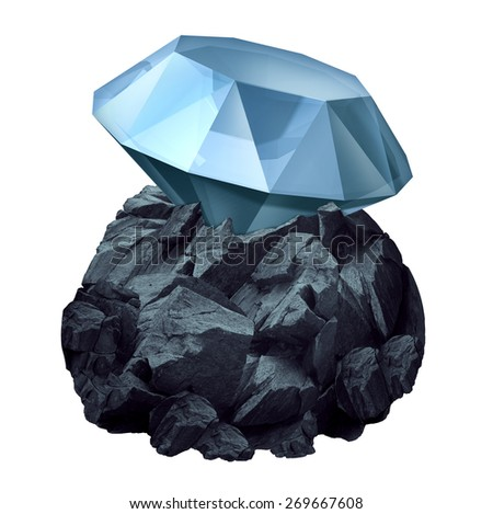 Diamond in the rough as a shiny precious gem hidden in a chunk of jagged rock  as a business symbol and character metaphor for discovery of future potential for success and the value or power within. - stock photo