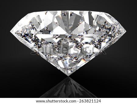 diamond isolated on black  - stock photo