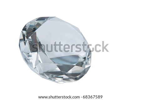Diamond isolated on white - stock photo