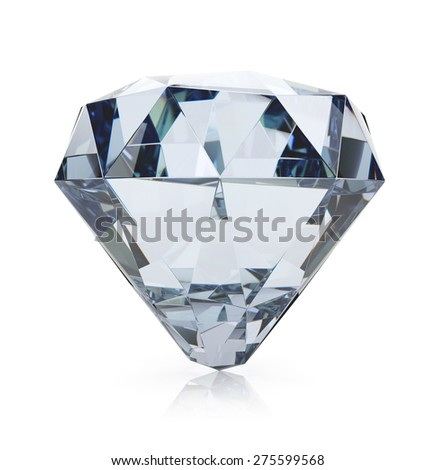 Diamond isolated on white background. 3d render - stock photo