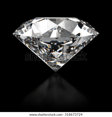 diamond isolated on white background - side view - stock photo