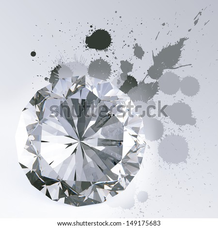 Diamond isolated on white 3d model and slash colors background