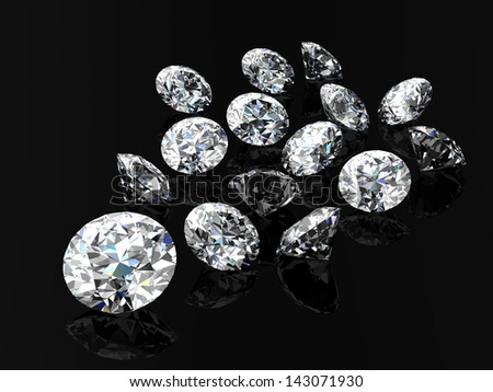 diamond jewel (high resolution 3D image) - stock photo