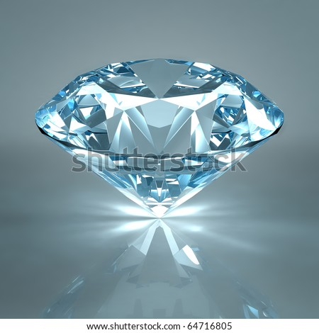 Diamond jewel isolated on light blue background. Beautiful sparkling diamond on a light reflective surface. High quality 3d render with HDRI lighting and ray traced textures. - stock photo
