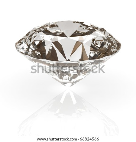 Diamond jewel isolated on white background. Beautiful sparkling diamond on a light reflective surface. High quality 3d render with HDRI lighting and ray traced textures. - stock photo