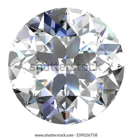 diamond jewel on white background - stock photo