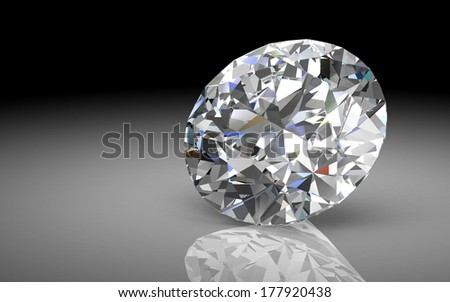 diamond jewel on white background (high resolution 3D image)