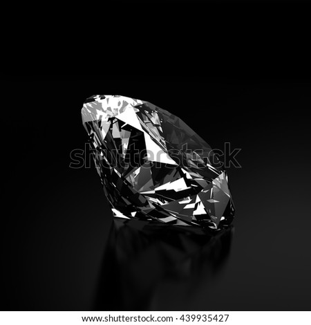Diamond jewelry isolated on black background 3d rendering.