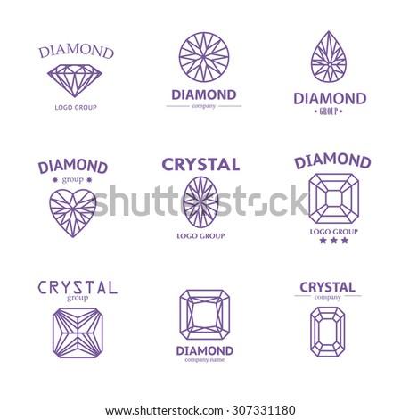 Diamond logo set. Jewellery logo collection. Rhinestone company insignia. - stock photo