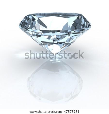 Diamond on white - stock photo