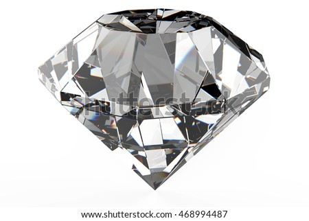 Diamond perspective view close up clearly isolated on white background 3d illustration