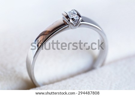 Diamond ring as a gift - stock photo