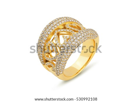 Diamond ring. Diamond ring isolated on white background. Ring with diamonds. Golden wedding rings. Yellow gold.