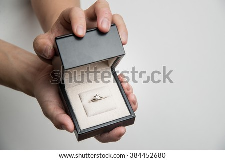 diamond ring in a box - stock photo