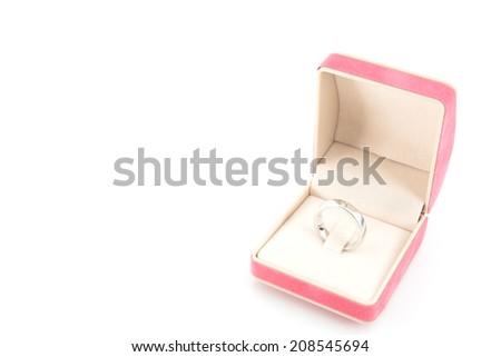 diamond ring in a velvet box - stock photo