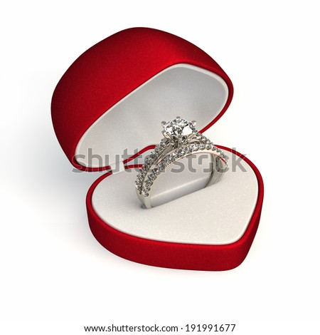 diamond ring in red gift box