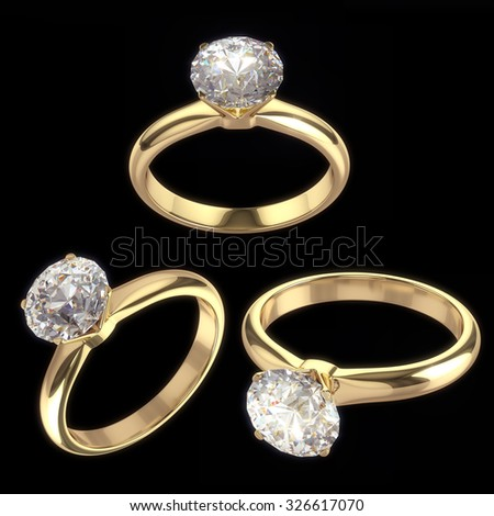 Diamond ring - isolated on black background with clipping path  - stock photo