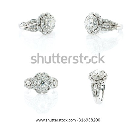 Diamond ring isolated on white background. - stock photo