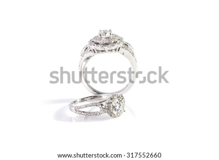 Diamond ring isolated on white background.