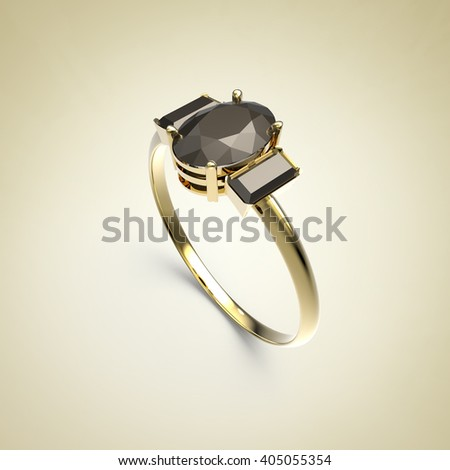 Diamond Ring on a light background. Fashion jewelry. 3d digitally rendered illustration - stock photo