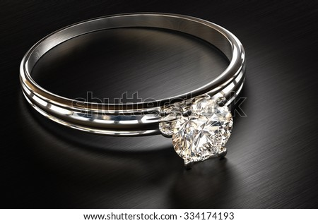 Diamond ring on a metal background 3d rendering.