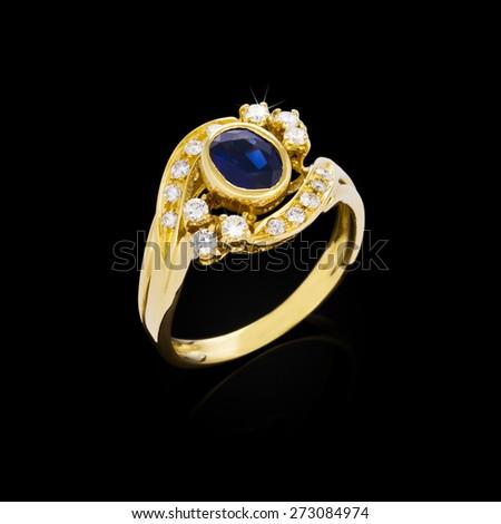 Diamond ring on black background - stock photo