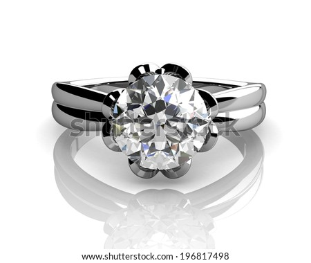 diamond ring on white background with high quality - stock photo