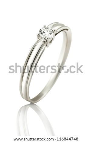 Diamond Ring wedding gift isolated - stock photo