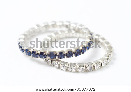 diamond ring with blue and white - stock photo