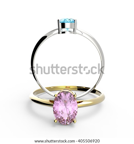 Diamond Rings. Isolated on white background.  Fashion jewelry. 3d digitally rendered illustration - stock photo