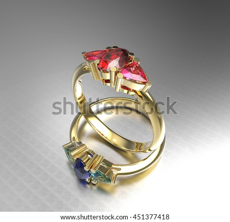 Diamond Rings on a white background. 3d digitally rendered illustration - stock photo