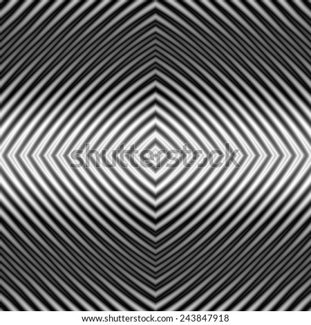 Diamond Ripples / A digital abstract fractal image with a monochrome diamond pattern in black and white. - stock photo
