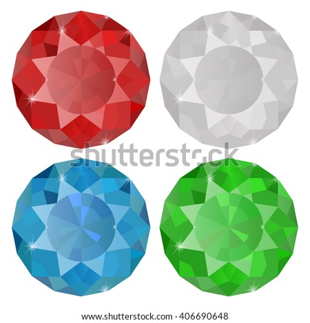 Diamond, Sapphire, Ruby, Emerald.  Illustration isolated on white background. Raster version