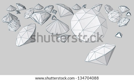 diamond shape objects with accented edges - stock photo
