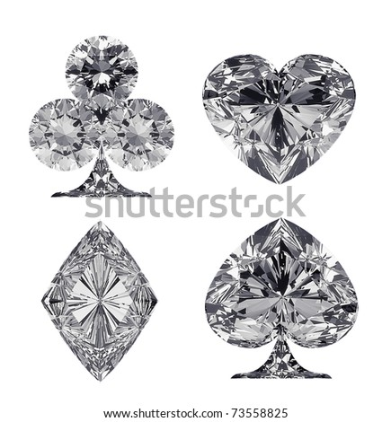 Diamond shaped Card Suits isolated over white - stock photo