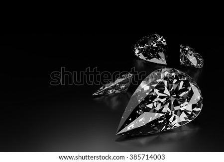 Diamond Shaped like a Teardrop on Black Background