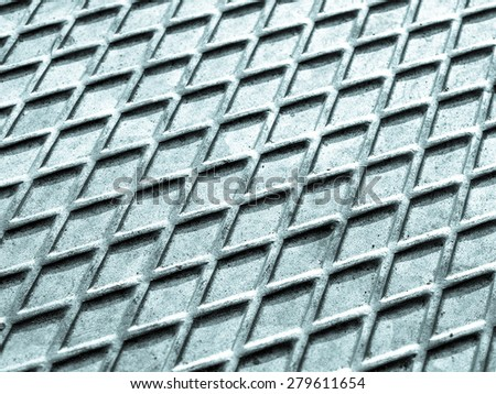 Diamond steel plate industrial iron metal background - cool cold tone - stock photo