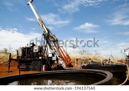 Diamond Tip Core Drill Rig & Water Sumps  - Australia - stock photo
