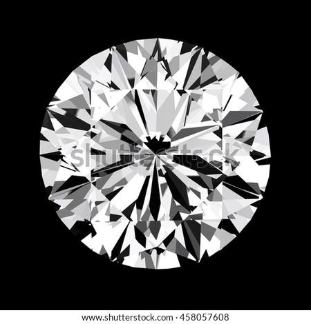 Diamond top view Close up , 3d  - stock photo