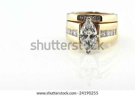 diamond wedding ring closeup isolated on white