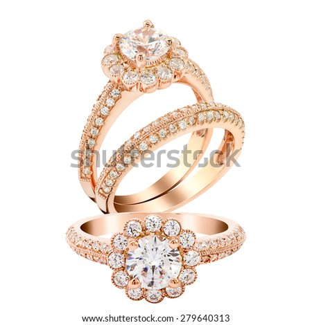 Diamond wedding rose gold ring jewelry. isolated on white