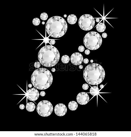 B Letter In Diamond Bling Letters Stock Im...