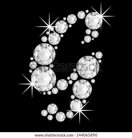 Diamonds alphabet capital letter G - stock photo