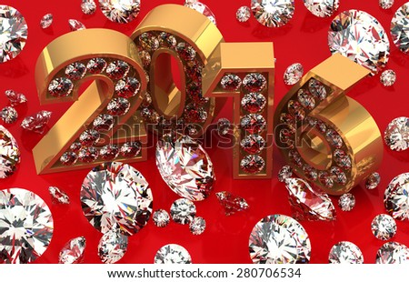 Diamonds and 2016 - stock photo