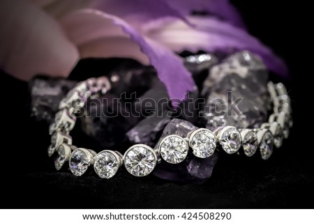 Diamonds bracelet  - stock photo