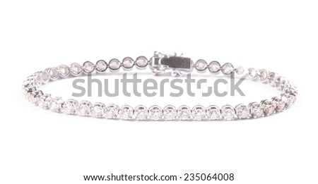 Diamonds bracelet isolated on white background - stock photo